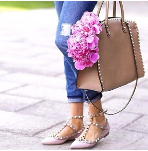 shoes brown bag flats valentino valentino bag valentino shoes
