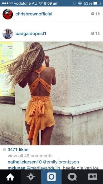 jumpsuit orange play suit rompe flowy orange jumpsuit