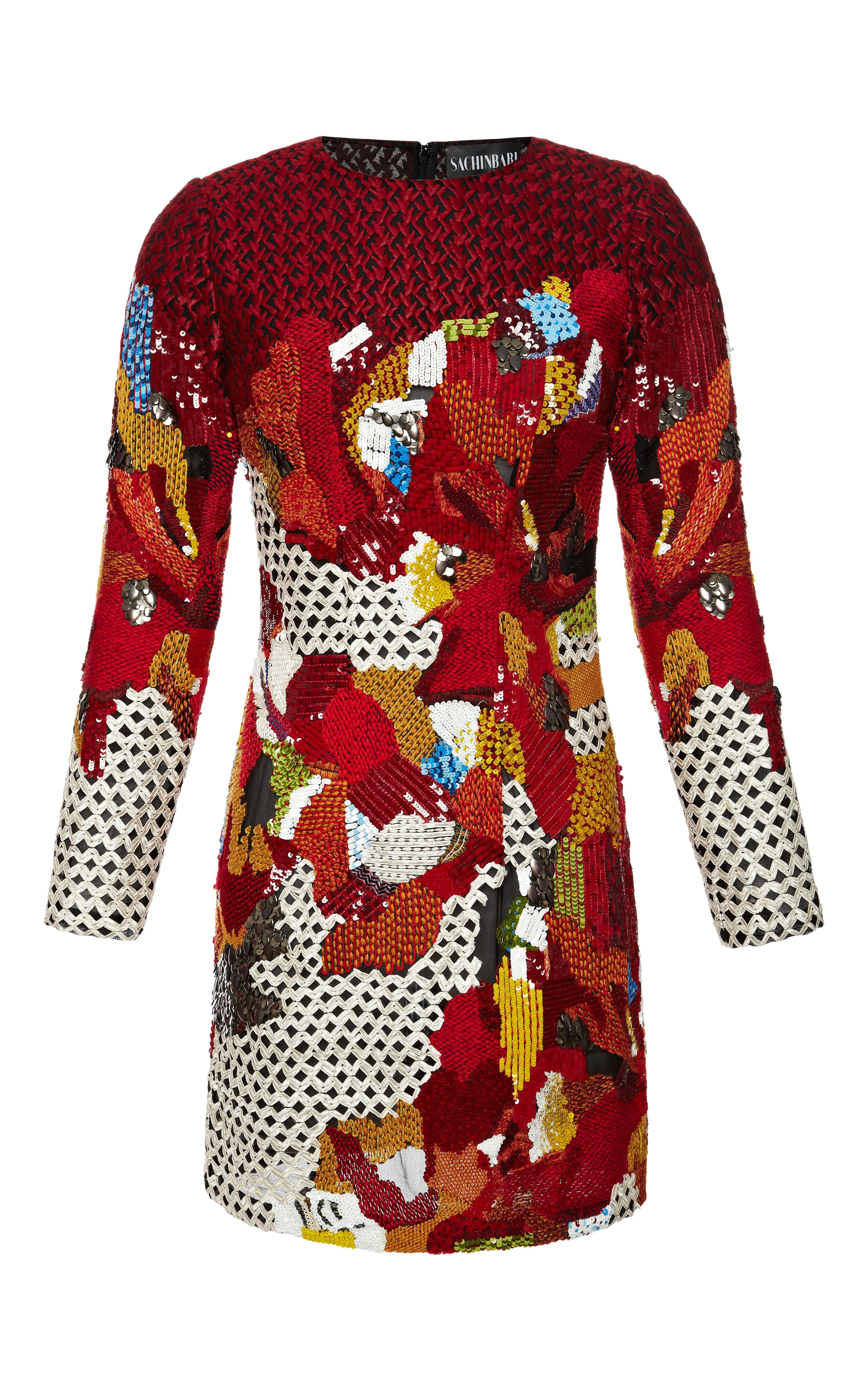 Sachinbabi collection long sleeve embroidered dress by sachin babi