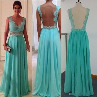 sheer back dress evening dress mint dress long prom dress 2014 prom dresses dress