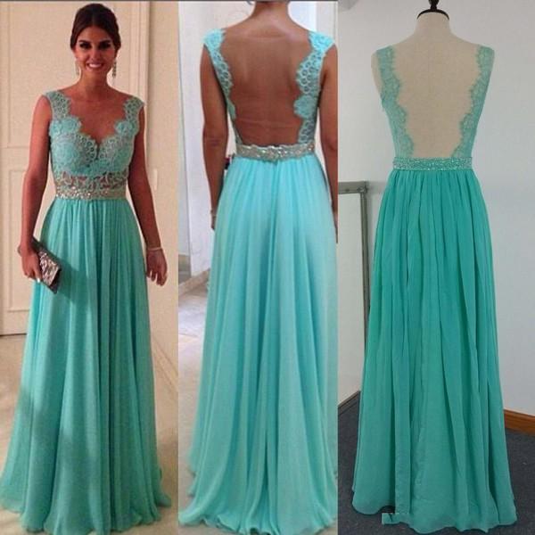 sheer back dress evening dress mint dress long prom dress prom dress dress