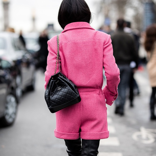 178909ff5b78 bag chanel gabrielle backpack backpack black backpack chanel chanel bag  pink pink jacket jacket pink shorts