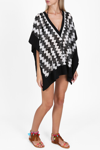 poncho women black top