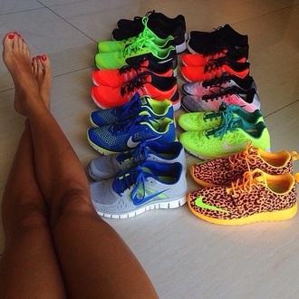 shoes lime green nike sign yellow cheetah print nike running shoes