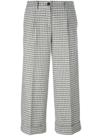 plaid cropped women cotton wool grey pants