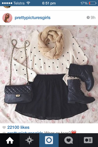 polka dots cute polka dot sweater shoes dot outfit cute sweater warm cosy winter autumn winter/autumn adorable autumn, winter autumn outfit