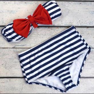 swimwear sailor bow bandeau bikini nautical high waisted bikini navy white stripes bow red bandeau beach summer trendy
