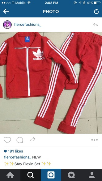 jumpsuit red adidas tracksuit stay flexin set