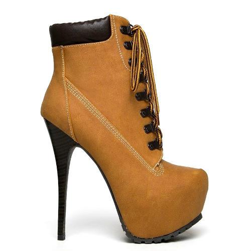 Blazer-11 Camel Lace up Platform Ankle Boots Stiletto Heels - Cutesy Originals