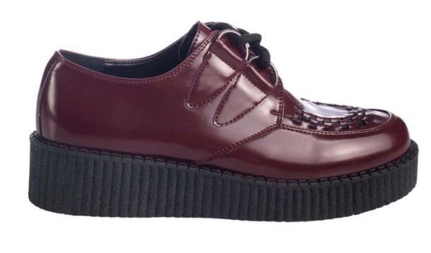 shoes red creepers burgundy punk punk