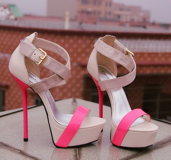 shoes cute platforms summer shoes pink beige pink dress