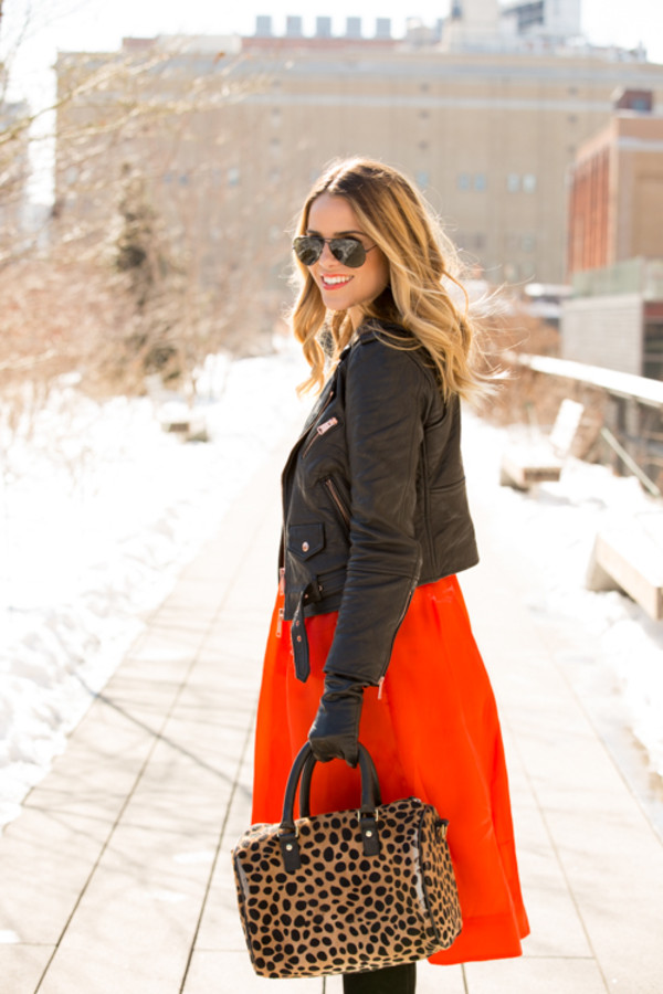 gal meets glam jacket shirt skirt shoes sunglasses bag