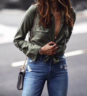 shirt green shirt tumblr olive green jeans denim blue jeans ripped jeans bag grey bag tie-front top