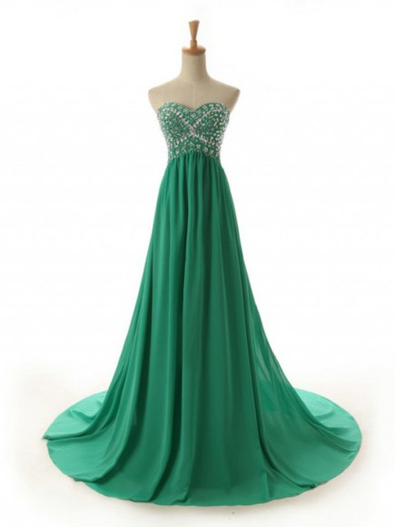 long dress evening dress green dress chiffon dress sweetheart dress custom dress party dress
