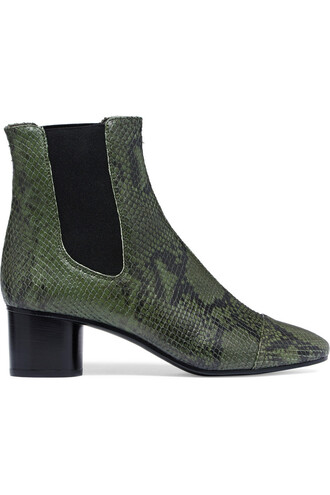 leather ankle boots python boots ankle boots leather snake print green army green snake print shoes