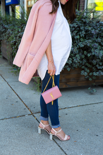 sequins and stripes blogger sweater coat shirt jeans shoes bag sunglasses make-up maternity mid heel sandals