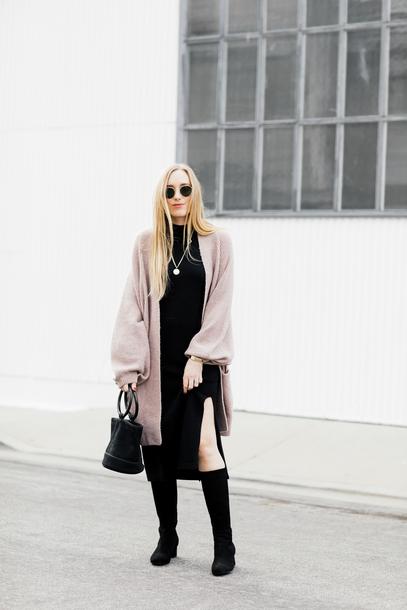 eat sleep wear blogger sweater dress shoes bag jewels boots cardigan winter outfits black dress