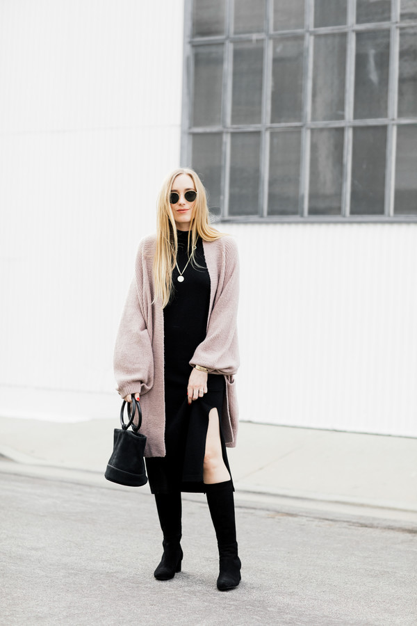 eat sleep wear blogger sweater dress shoes bag jewels boots cardigan winter outfits black dress