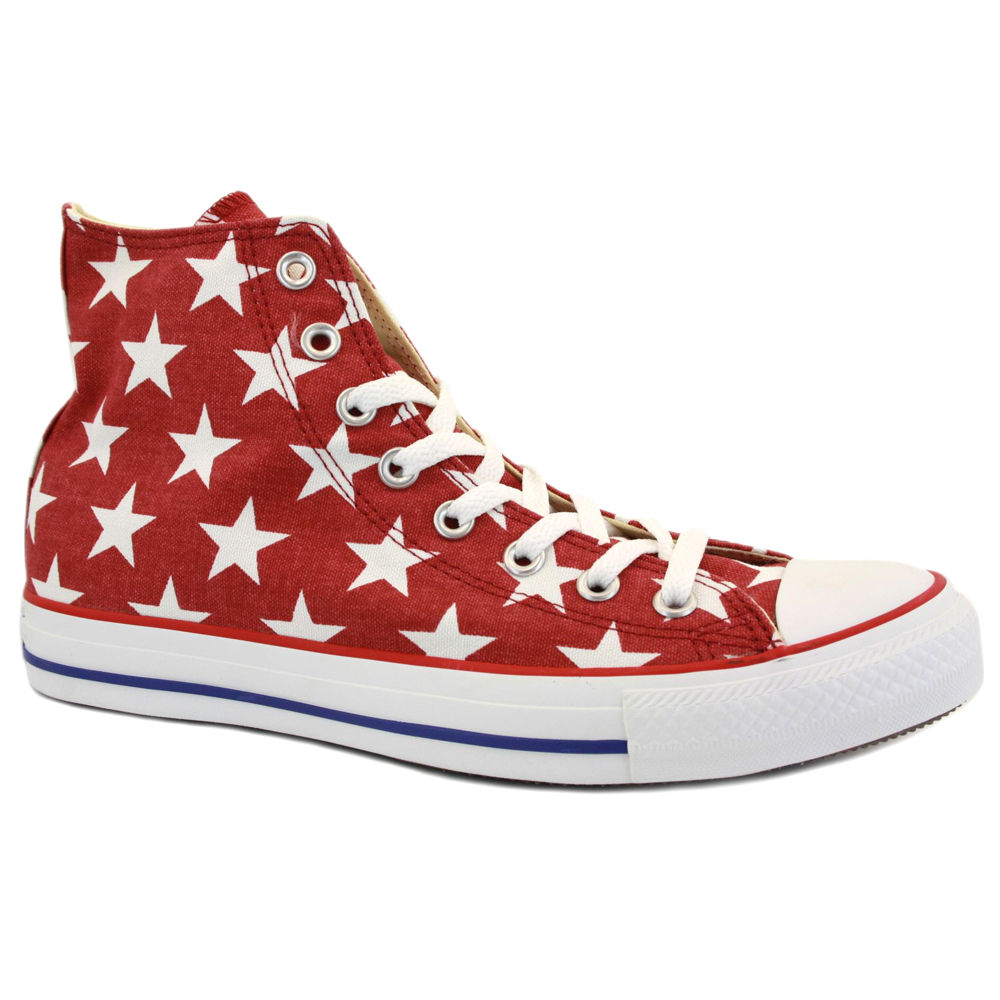 Converse Chuck Taylor Star Hi 136615C Unisex Canvas Laced Trainers Red White | eBay