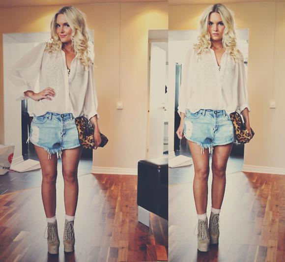 hot jeans denim shorts boyfriend boyfriend shorts blouse