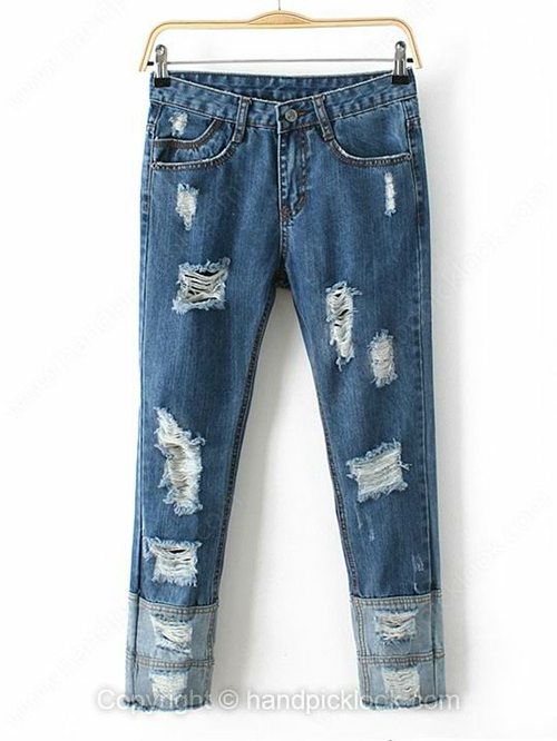 Blue Button Fly Ripped Loose Jeans - HandpickLook.com