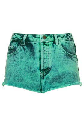 MOTO Mint Acid  Wash Denim Hotpants - Topshop
