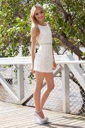 dress,cut-out,white,cream,daisy,cute,white dress,lace dress,mini dress