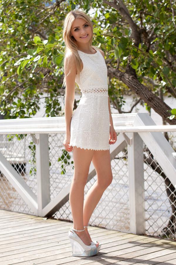 dress cut-out white cream daisy cute white dress lace dress mini dress