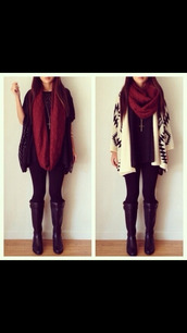 scarf,maroon scarf,sweater,shoes,jacket,pants,jewels,pattern sweater,black and white sweater,white and black sweater,cream sweater,cross necklace,red scarf,infinity scarf,t-shirt,blouse,where to get everything in this's