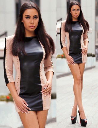 dress zefinka mini dress beige and black party dress mini skirt