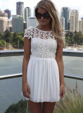 White Cocktail Dress - White Floral Embroidered  Top Dress | UsTrendy