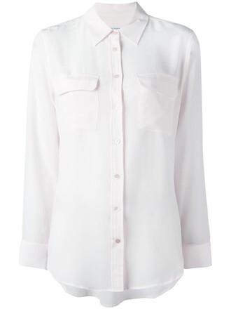 shirt women classic silk purple pink top