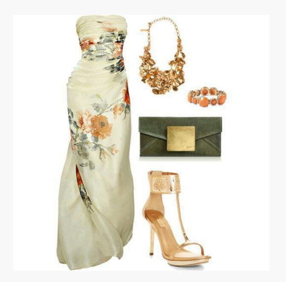 dress long dress sleeveless dress sweetheart neckline necklace bracelet bag clutch high heels t-strap heels floral dress floral clothes outfit gathered dress form fitting shoes