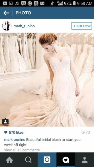 dress blush cream dress ivory dress mermaid/trumpet wedding dresses