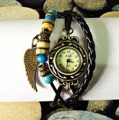 jewels,wrap watch,watch,jewelry,charm bracelet,leather bracelet,wings,freeforme,vintage style watch,beaded