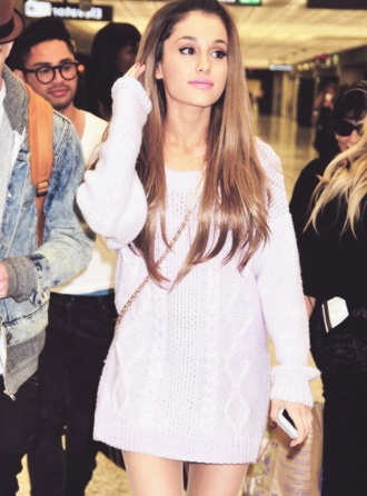 sweater ariana grande purple lilac knitted sweater oversized oversized sweater hair accessory shirt