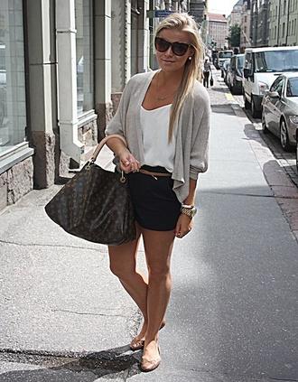 shirt sweater white white shirt shorts black shorts big bag watch tan belt brown sunglasses sunglasses