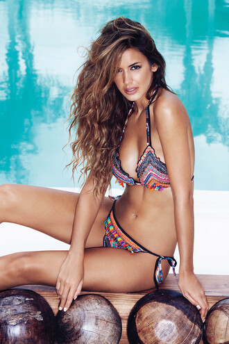 swimwear agua bendita bikini cheeky luxury print thong tie sides triangle