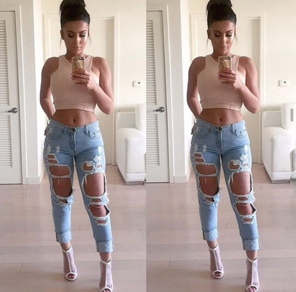 top nude top jeans denim shirt ripped jeans high waisted jeans blue jeans  light blue jeans