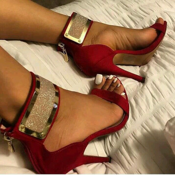 shoes red sandals gold ankle strap