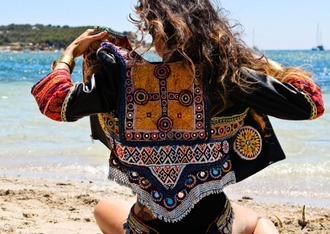 jacket bohemian boho bohemian jacket gypsy gypsy style aztec tribal pattern tribal jacket colorful spring jacket blue black winter outfits embroidered decoration embellished jacket boho jacket printed jacket