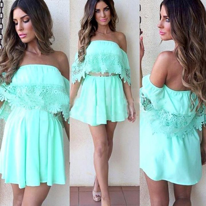 Mint eyelet dress