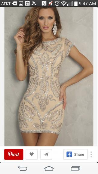 beige dress beige prom dress this exact dress. strass homecoming dress