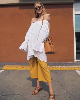 pants yellow yellow pants culottes top white top off the shoulder off the shoulder top shoes sandals sunglasses