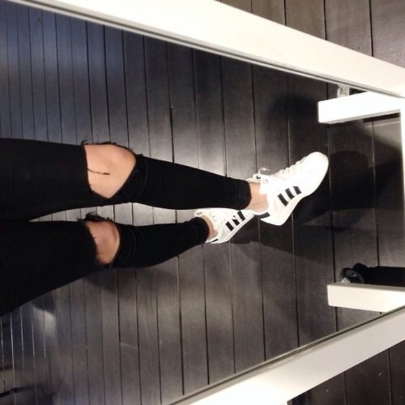 adidas white black shoes