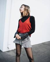 skirt,ruffle skirt,tumblr,checkered,checkered skirt,mini skirt,ruffle,asymmetrical,asymmetrical skirt,wrap skirt,tights,net tights,fishnet tights,top,red top,black top,bell sleeves