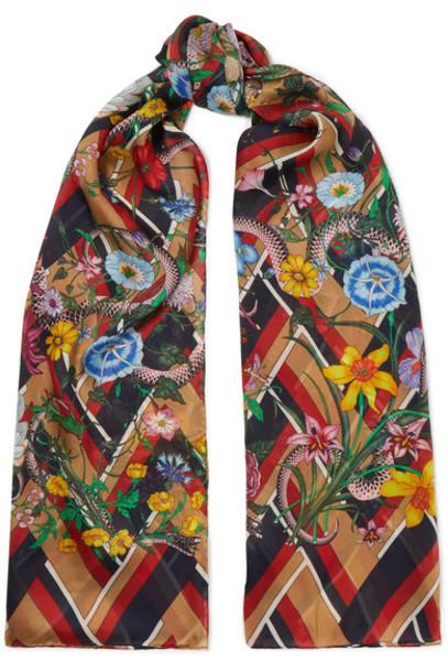 gucci chiffon scarf navy silk