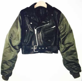 coat army leather jacket cropped belt