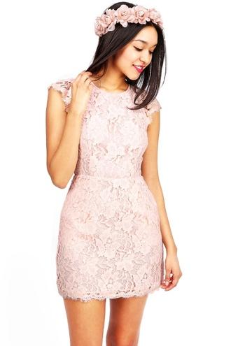 dress blush lace pink cute fashion short dress