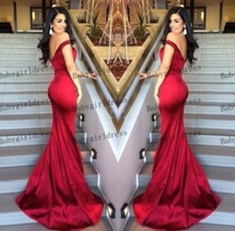 dress red dress mermaid prom dress backless prom dress off the shoulder dress